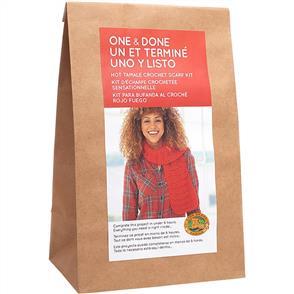 Lion Brand  One & Done Yarn Kit - Hot Tamale Crochet Scarf