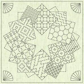 """QH Textiles  Sashiko Squares - Kaza Guruma 1 - 101 - 12""""x12"""""""