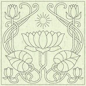 """QH Textiles  Sashiko Squares - Serenity - 104 - 12""""x12"""""""