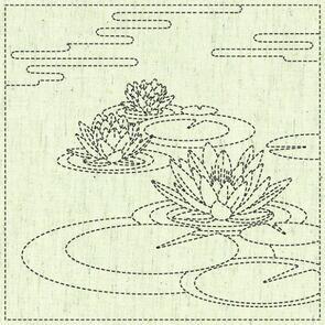 """QH Textiles  Sashiko Squares - Waterlily - 106 - 12""""x12"""""""