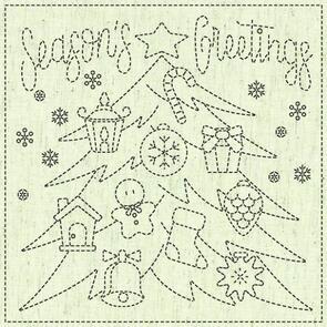 """QH Textiles  Sashiko Squares - Season's Greetings - 107 - 12""""x12"""""""