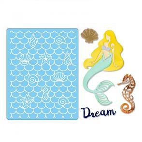 Sizzix  Thinlits Die Set 4PK Textured Impressions - Dream Mermaid