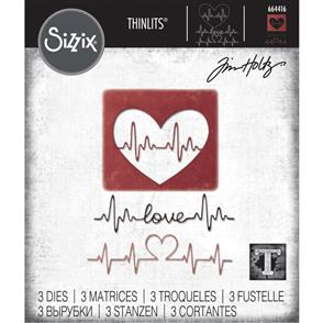 Sizzix Tim Holtz - Thinlits Die Set 3PK - Heartbeat