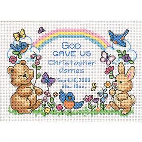 """Dimensions  Counted Cross Stitch Kit 7""""X5"""" God's Babies Birth Record"""