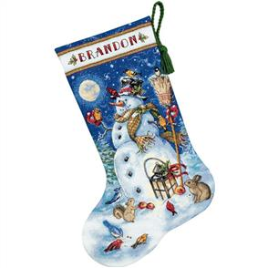 "Dimensions  Counted Cross Stitch Kit - Snowman & Friends Stocking 16"" Long"