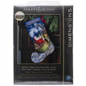 Dimensions  Cross Stitch Stocking Kit - Santa's Flight