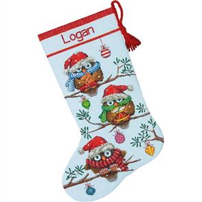 Dimensions  Cross Stitch Stocking Kit - Holiday Hooties - Christmas