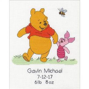 Dimensions  Winnie the Pooh Birth Record - Cross Stitch Kit