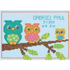 Dimensions  Owl Birth Record - Cross Stitch Kit