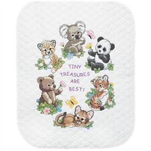 """Dimensions  Quilt Stamped Cross Stitch Kit 34""""X43"""" Baby Animals"""