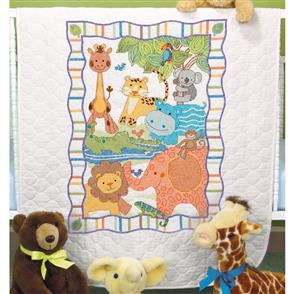 "Dimensions  Baby Quilt Stamped Cross Stitch Kit - Mod Zoo 34""X43"""