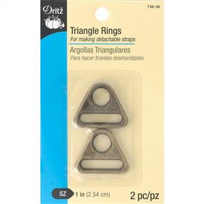 "Dritz Triangle Rings 1"" 2/Pkg Brass"
