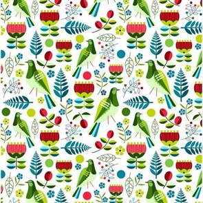 Nutex  Kiwiana Fabric - Early Birds Kereru White