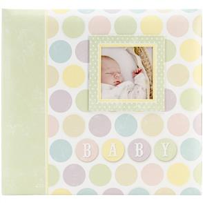 "MBI  Baby Post Bound Album W/Window 12""x12"" - Circles"