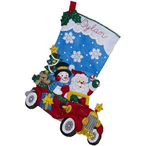 Bucilla  Felt Christmas Stocking Kit - Holiday Drive