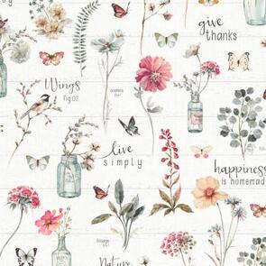 Wilmington Prints  A Country Weekend - Jar Flowers White