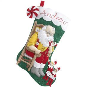 Bucilla Felt Christmas Stocking Kit - Elf on The Shelf Santa & Scout