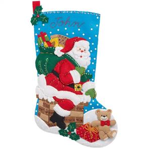 Bucilla Felt Christmas Stocking Kit - Down the Chimney