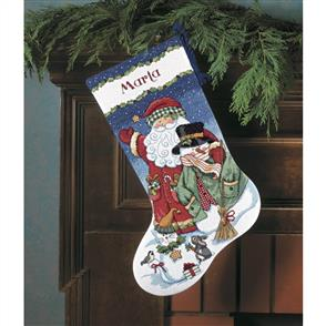 Dimensions  Cross Stitch Stocking Kit - Santa & Snowman - Christmas