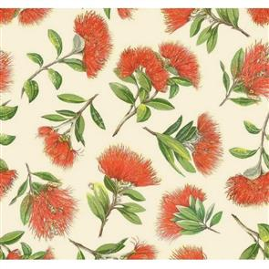 Nutex  Kiwiana Fabric - Pohutukawa Scatter Cream