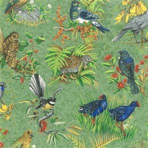 Nutex  Kiwiana Fabric - Chatter Birds Green