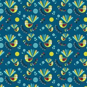 Nutex  Kiwiana Fabric - Forest Song Fantails