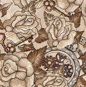 Blank Quilting  Unknown Voyage - Roses - Fawn