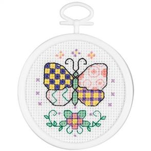 Janlynn  Beginners / Mini Cross Stitch Kit: Patchwork Butterfly