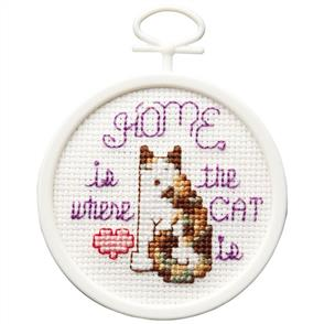 "Janlynn  Mini Counted Cross Stitch Kit 2.5"" - Round Home Is Where The Cat Is"