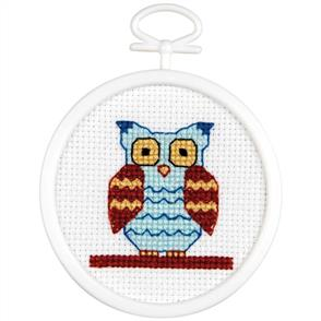 "Janlynn  Mini Counted Cross Stitch Kit 2.5"" Round - Owl"