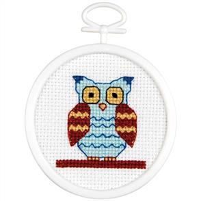 "Janlynn  Mini Counted Cross Stitch Kit 2.5"" Round - Owl"