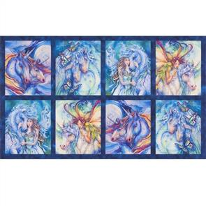 "Robert Kaufman  Morningmoon Unicorns - 24"" Panel"