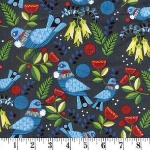 Nutex Forest Song Fabric - Dark Blue/Navy
