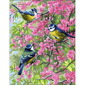 Anchor  Royal Paris Canvas: Tapestry Blue Chickadees and Flowers
