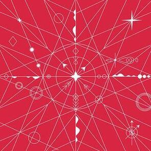 Andover Fabric  Alison Glass Hopscotch 22 Compass - Red