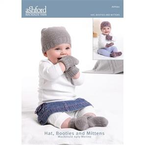 Ashford  Knitting Pattern - Hat, Booties and Mittens