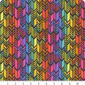 Andover Fabric  Art Theory - Spectrum Feathers - Night