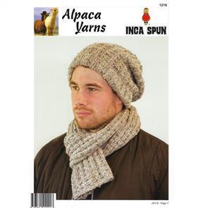 Alpaca Yarns  1216 Beanie & Scarf - Knitting Pattern