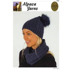 Alpaca Yarns 1538 Cable Beanie & Cowl - Knitting Pattern