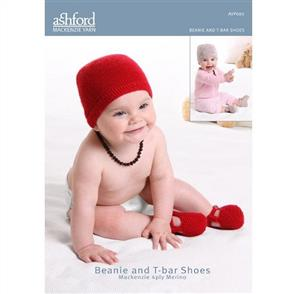 Ashford  Knitting Pattern - Beanie and T-Bar Shoes