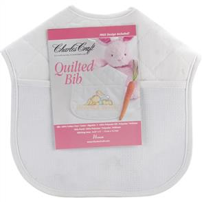 Charles Craft Quilted Baby Bib 14 Count - White