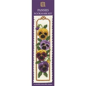 Textile Heritage  Bookmark Cross Stitch Kit - Pansies