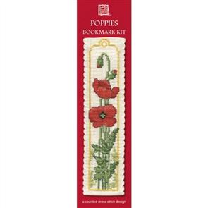 Textile Heritage  Bookmark Cross Stitch Kit - Poppies