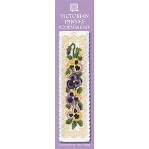 Textile Heritage  Bookmark Cross Stitch Kit - Victorian Pansies