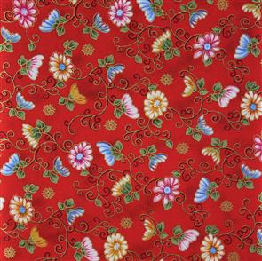 Blank Quilting  Fluttering Flowers - 7153 Red