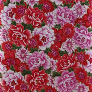 Blank Quilting  Peonies - 7155 Red