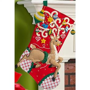 Bucilla Felt Stocking Applique Kit - Ornamental Deer