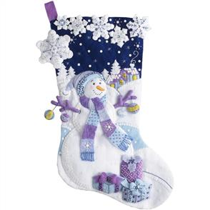 Bucilla  Felt Stocking Applique Kit - Frosty Night