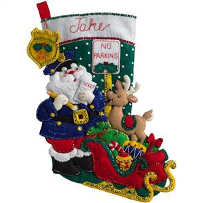 Bucilla Felt Stocking Applique Kit - Officer Santa