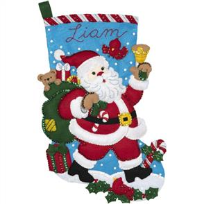 Bucilla  Felt Stocking Applique Kit - Santa Bell Ringer